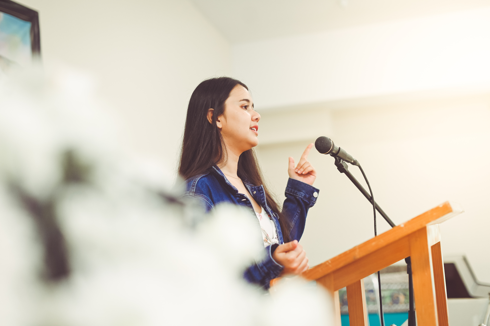 young graduate speaking